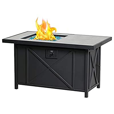 BALI OUTDOORS Propane Fire Pit Table 42 inch 50,000 BTU Rectangular Gas Fire Pit Table with Blue Fire Glass, Table Lid Included