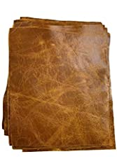 """Tan Pull-Up Cowhide Leather Pre-Cut 8.5"""" x 11"""" Leather Pieces (1 unit per order) 1.1-1.3 mm (3 OZ) in thickness Leather is soft and pliable. The pull up finish has a vintage crackle when handled Made in the USA"""