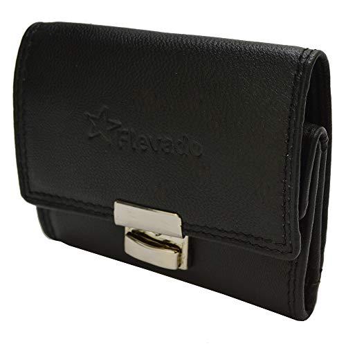 flevado Kleine Leder Geldbörse altersgerechte handliche Leder Senioren Brieftasche für schnellere Handhabung (schwarz) mit RFID