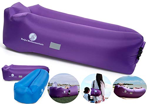 RoQu WellSENSEtials Inflatable Air Couch Lounger Sofa, Chair, Hammock, and Bed - Easy Inflating and Anti-Deflate Technology Best for Traveling, Camping, Picnic, Hiking, Festival & Gaming (Purple)