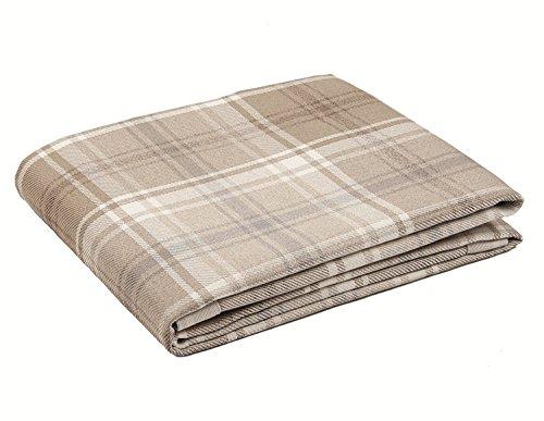 McAlister Textiles Angus Couverture à Motif Tartan Chemin de Lit, Canapé et Fauteuil - Accessoire - 180x254cm | Couleur Naturel Marron Beige