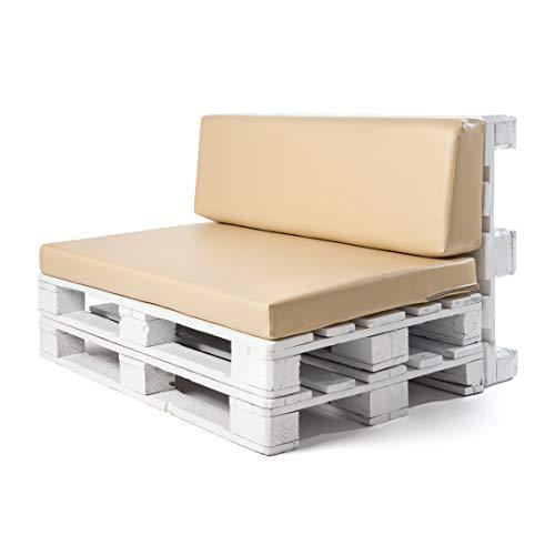 Conjunto colchoneta para sofas de palet y respaldo Beige (1 x Unidad)...