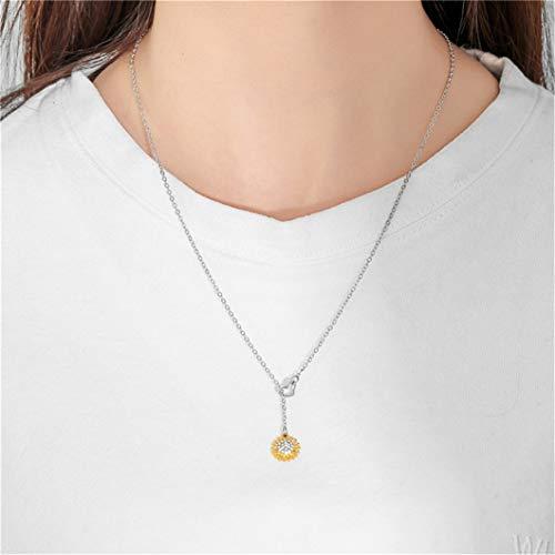 Elegante collar de corazón de girasol con forma de flor encantadora colgante de clavícula cadena joyería regalo de fiesta para mujeres