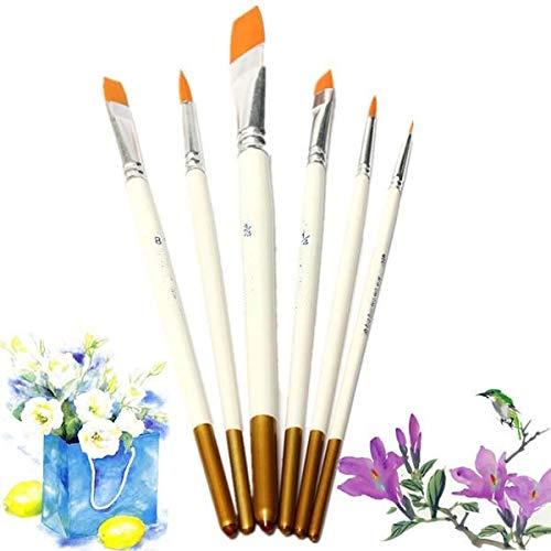 Sets de pinceaux de Peinture 6 PCS Professional Dessin Set Acrylique Huile Aquarelle Artiste Pinceaux Blanc Peinture à l'huile pour Aquarelle (Color : White, Size : 6pcs)