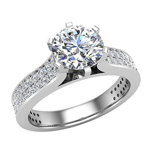 Anillo de compromiso de diamante de 1,20 quilates tw con detalles de diamante gemelo engastados en oro blanco de 14 quilates (F,VS1) (RS 7)