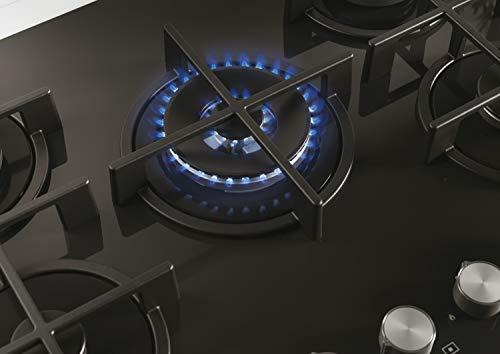 Candy CVG74WPB Placa de gas, 75cm, Cristal templado negro, 12150W, Mandos independientes inox, Rejillas hierro fundido, Gas natural adaptable a butano, Válvula seguridad, Negro