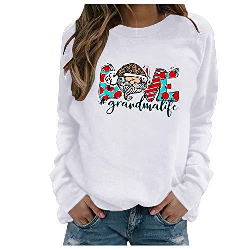 JUTOO Damen Weihnachtsdruck O-Ausschnitt T-Shirt für Damen Langarm Casual Bluse Top...