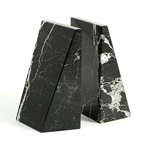 Triangle Black & White Marble Bookends