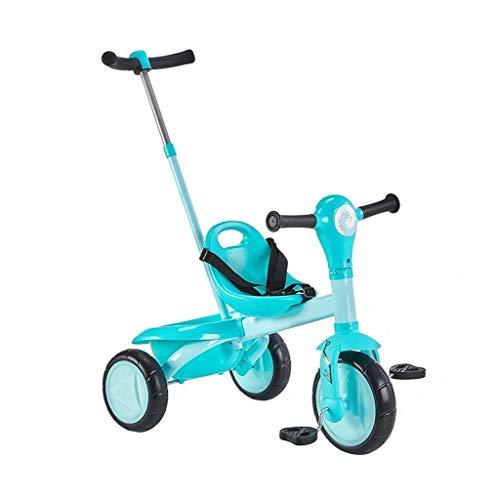 New Baby Push Trike, triciclo de regalos de cumpleaños para la opción multifuncional de bicicleta de cochecito de bebé con llanta neumática de dos colores con manija de empuje de bicicleta par