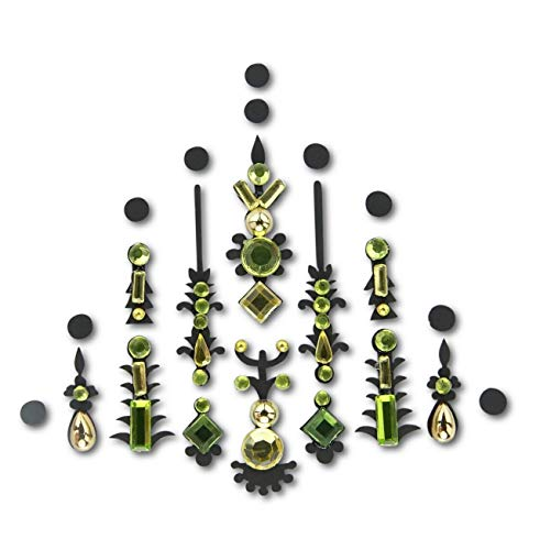 Gold and Green Face Gem/Crystal Face Jewels For Festivals/Body Jewel glitter tattoo/All In One Stick On Bindi/Rhinestone Jewellery Headpiece/Festival