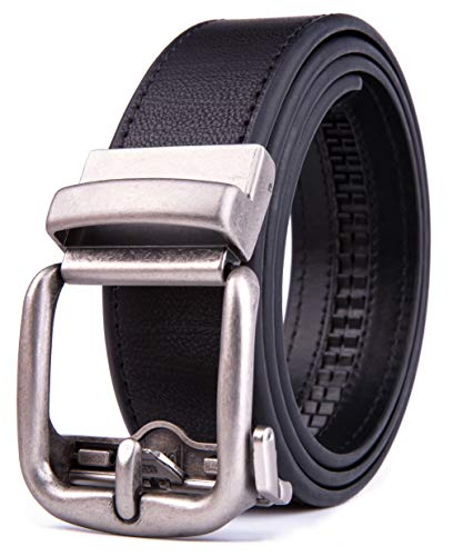 Men's Genuine Leather Ratchet Dress Belt with Automatic Buckle, Adjustiable Sizes, Handmade, All leather Strap (40/42, Black 2073)