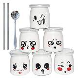 Yangbaga Vasos para Yogurtera, 6 Vasos de Repuesto Tarros Cristal Pequeños con Tapa Plastico para Preparar Yogures, Postres y Natillas para los Potitos de los Bebés 200ml