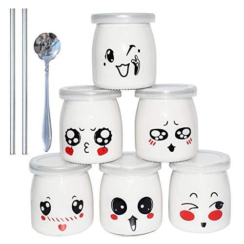 Yangbaga Vasetti per Yogurt Barattoli di Vetro Vasetti di Conservazione con Emoticon Vasetti di Ricambio Vasetti di Marmellata con Coperchio in Silicone per Desse di Yogurt Maker 200ml, 6 PCS
