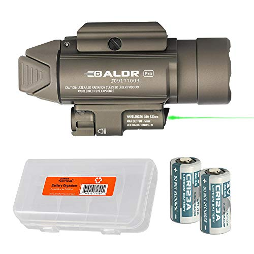 OLIGHT Baldr Pro 1350 Lumen WeaponLight Flashlight with Green Laser Sight with LumenTac Battery Organizer (Tan)