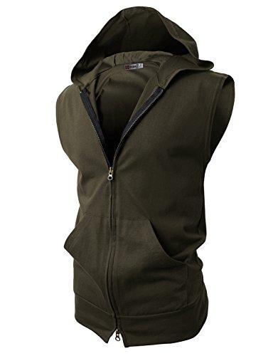 H2H Mens Sleeveless Fashion Hoodies Zip-up with Pocket Khaki Asia XXL (JPSK13_N25)