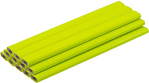 Neon Yellow Carpenter Pencils - (1) Bag of 12 Pencils - Ten Color Choices, 2 Lead