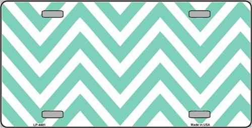 Mint | White Large Chevron Print Blank Vanity Metal Novelty License Plate Tag Sign Blanks