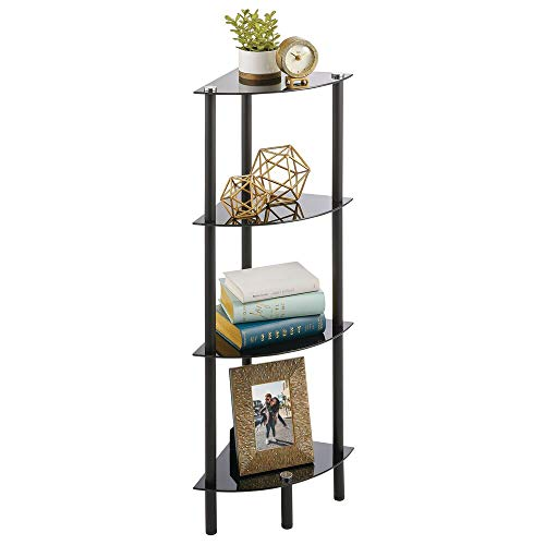 mDesign Home Floor Storage Corner Tower, 3 Tier Open Glass Shelves - Compact Shelving Display Unit - Multi-Use Home Organizer for Bath, Office, Bedroom, Living Room - Clear/Bronze