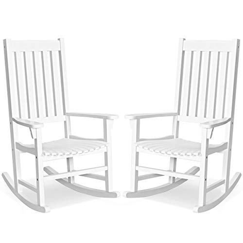 Giantex Rocking Chair Acacia Wood Frame Outdoor& Indoor for Garden, Lawn, Balcony, Backyard and Patio Porch Rocker (2, White)