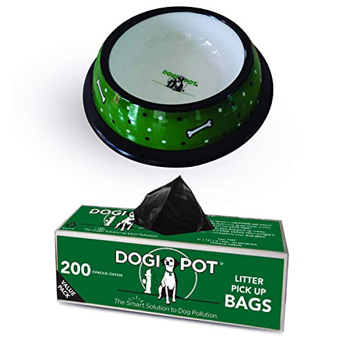 Dogipot 1701 L Dog Bowl Green amp White Dog Bones with Pet Waste Bags 200ct