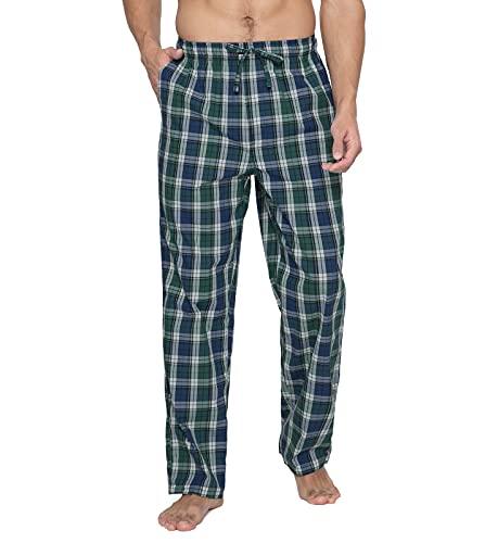 LAPASA Uomo Pantaloni da Pigiama in 100% Cotone a Quadri Abbigliamento da Notte Stampa a Quadretti M38