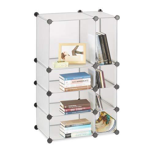 Relaxdays Regalsystem Steckregal mit 8 Fächern, flaches Standregal für das Büro, Kunststoff Allzweckregal, transparent