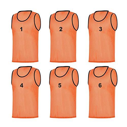 RHINOS sports 6 Leibchen nummeriert 1-6, Größe:XL, Farbe:orange