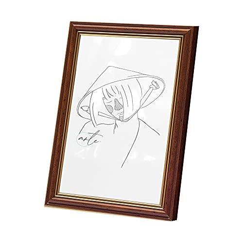 Artepoint Holz Bilderrahmen Astra von 9x13 bis 40x50 Querformat und Hochformat zum Aufhängen und Aufstellen Rahmen Farbe Dunkelbraun mit goldenem Innenrand - Format A4 21x29,7