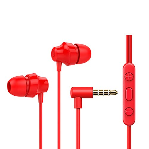 in-Ear Headphones, Earphones with Microphone and Volume Control, Crystal Clear Sound Earbuds, Ergonomic Comfort-Fit, Red