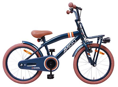 AMIGO 2Cool - Kinderfahrrad für Jungen - 18 Zoll - mit Handbremse, Rücktritt, Gepäckträger Vorne, fahrradständer und Beleuchtung - ab 5-8 Jahre - Blau