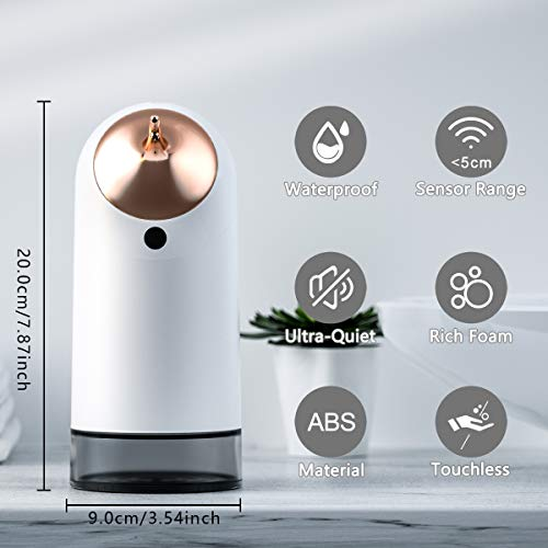 IRON JIA'S Automatic Foaming Touchless Soap Dispenser,Infrared Motion Sensor, Long Standby Electric Smart Battery,for Bathroom, Kitchen,Office, ABS material
