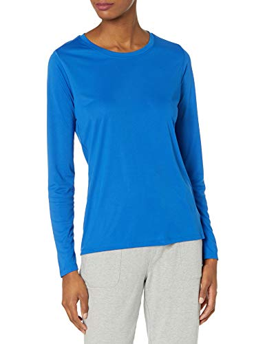 Hanes Women's Sport Cool Dri Performance Long Sleeve Tee, Awesome Blue, Medium