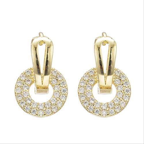 Boucles d'oreille pour femmes luxe coréen zircon or argent rond boucles d'oreilles pour femmes femme fille mariage mariée fiançailles fête oreille ornements accessoires or