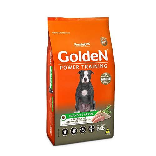 Ração Golden Power Training para Cães Adultos Sabor Frango e Arroz, 15kg Premier Pet Para Todas Grande Adulto,