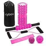CYBOOフォームローラー 筋膜リリース ローラー セットグリッドヨガポール ストレッチマッサージローラー (ピンク)