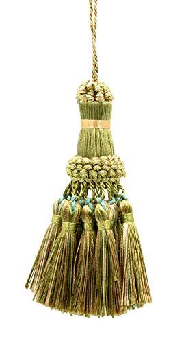 DecoPro Élégant pompon vert olive, doré clair, blanc, pampille de 38 cm de long, 76 cm de large # NKT - Olive Garden 010