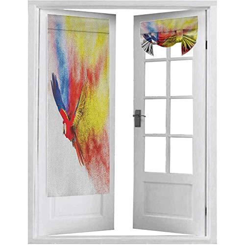 French Doors, Flying Parrot Colorful Storm Cloud on the Back Plumas Fantasy Illustration Print, 1 Panel-66 x 172,7 cm Cortinas para oscurecer habitación para puerta de cristal, multicolor