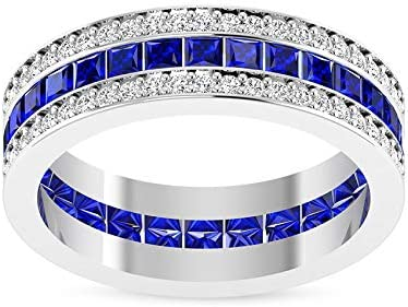 2.56 Fashion CT Tulsa Mall Princess Shaped Blue Diamond Created Lab Weddin Sapphire