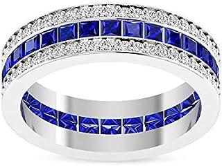 2.56 CT Princess Shaped Blue Sapphire Diamond Wedding Band Ring, IGI Certified Diamond Eternity Anniversary Ring, Women Se...