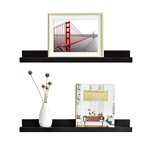 WELLAND Vista Espresso Wall Shelf Picture Ledge Floating Wall Shelves, 24-inch, Set of 2, Espresso