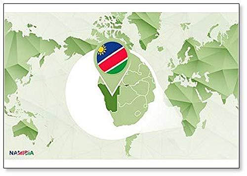 Wereldkaart met Magnified Namibia Kaart Koelkast Magneet