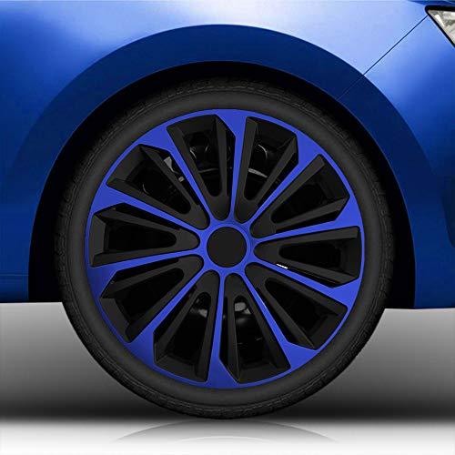 """Autoteppich Stylers 15\"""" 15 Zoll Radkappen/Radzierblenden vom RADKAPPEN KÖNIG 006 (Farbe Schwarz-Blau), passend für Fast alle Fahrzeugtypen (universal)"""