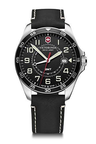Victorinox FieldForce GMT Reloj para Hombre de fabricación Suiza en Negro con Correa de Cuero 241895