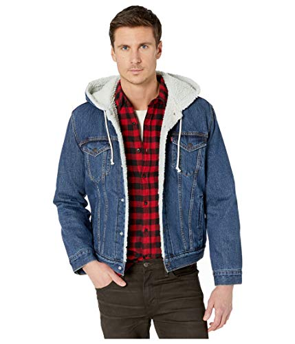 Levi's Men's Hooded Sherpa Trucker Jacket, Fly Over Indigo, Medium