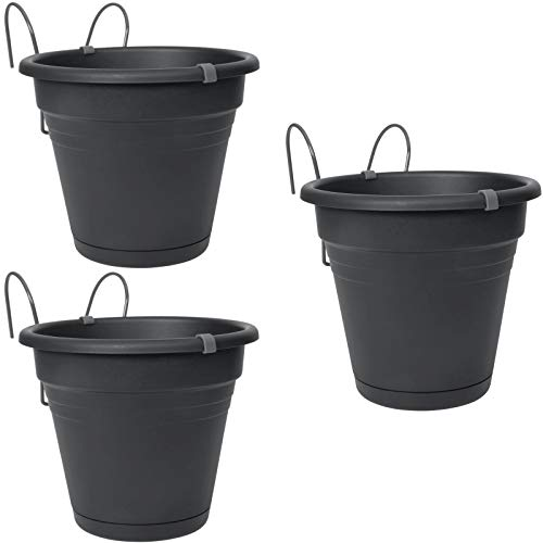 esto24 3er Set Hängetopf aus robusten Kunststoff mit abnehmbaren Wasserüberlauf Ø 20 cm, Blumentopf in 6 Farben erhältlich (3X anthrazit)