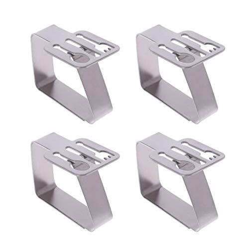 Fogun Lot de 4 pinces à nappe en acier inoxydable, argenté, 6,2 x 1,9 x 4,8 cm.