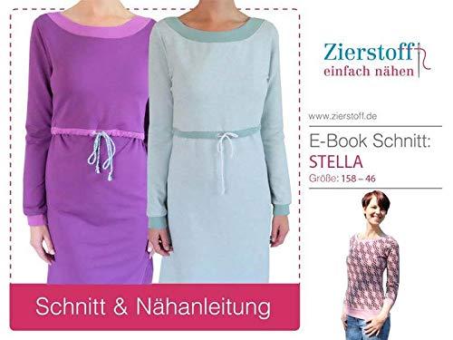 Zierstoff einfach nähen Schnittmuster, Kleid/Stillkleid/Pullover Stella, Gr. 158 bis Damengr. 46 - digital