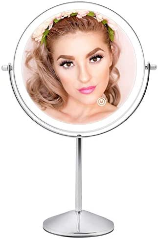 FASCINATE Rechargeable Lighted Makeup Mirror with 3 Color Lights 8 Inch 1x 10x Magnifying Double product image