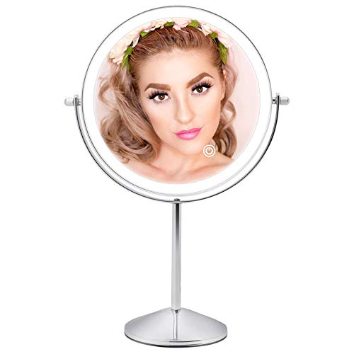 Rechargeable Lighted Makeup Mirror with 3 Color Lights, 8 Inch 1x/10x Magnifying Double Sided Led Vanity Mirror, 10x Magnification Cosmetic Mirror Tabletop Cord/Cordless