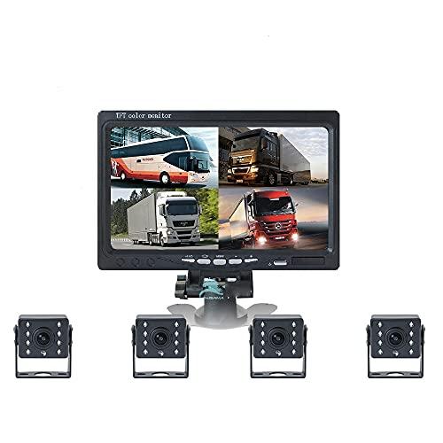 2 4V AHD Registro de imágenes de inversión de camiones Visión nocturna de 7 pulgadas Visión nocturna de cuatro canales Vigilancia de cuatro canales Cámara de alta definición Máquina en uno, fácil de i